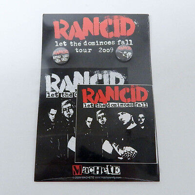 Rancid Let The Dominoes Fall Tour 2009 Pin Sticker and Fabric Patch Set