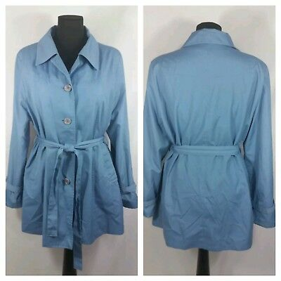 VTG Sears The Fashion Place Medium/Large Women's Rain Coat Blue Belted 70s 80s