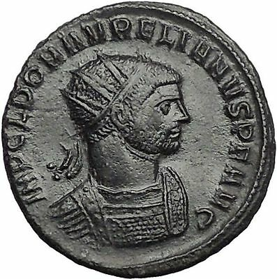 AURELIAN receiving wreath from woman  274AD Rare Ancient Roman Coin i55626