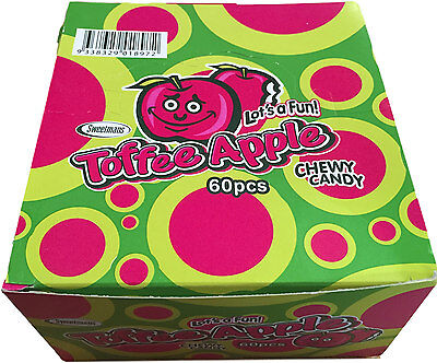 60 x Toffee Apple Candy Chewy Bars Individually Wrapped Party Favor Candy Buffet