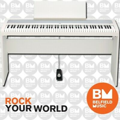 Korg B1 Digital Electric Natural Weighted Stage Concert Piano White Wooden Stand