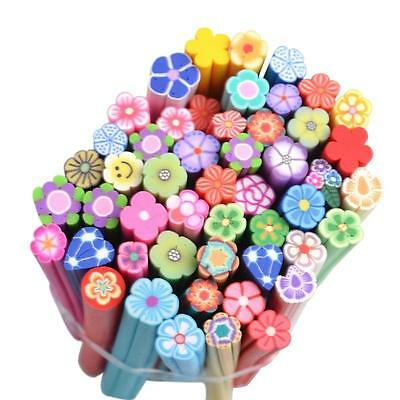 50 Lots Nail Art Fimo Canes Sticks Rods Polymer Clay Stickers 3D Assorted Decor