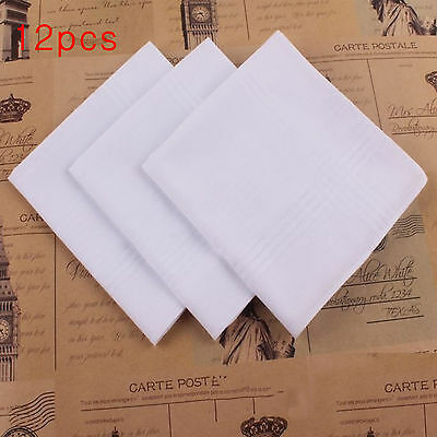 100% Cotton 12pcs White Handkerchiefs  40cm Square Soft Washable Hankie