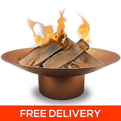 HUGE 78cm Antique Gold Fire Pit Cast Iron Large Bowl Outdoor Open Fireplace