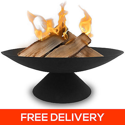 60cm Cast Iron Fire Pit 4.5mm Thick Bowl Outdoor Open Fireplace Patio Heater