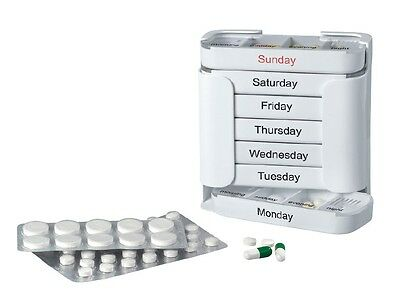 New 7 Day Pill Organiser Dispenser Weekly 4 compartments Storage Box Holder