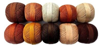 SET LOT 10 SHADES OF BROWN Cotton Yarn Thread Crochet Knitting Embroidery 200 gm