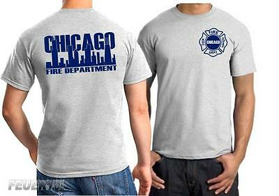 T-Shirt ash, Chicago Fire Dept., navy Schrift mit Skyline