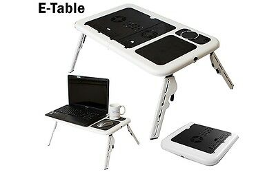 E-stand Folding E-Table Laptop Desk Cooling Fans Portable Lightweight Tray Stand
