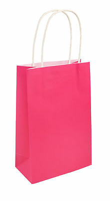 6 Hot Pink Bags With Handles - Luxury Party Treat Sweet Loot Lunch Gift