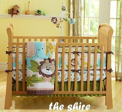 Baby Bedding Crib Cot Quilt Sheet Set-NEW 9pcs Quilt Bumpers Sheet Dust Ruffle