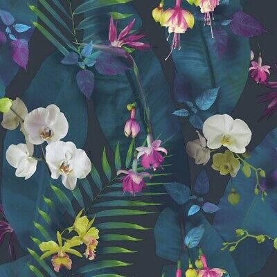 Arthouse Tropics Pindorama Navy Wallpaper 690101  Tropical Floral Palm