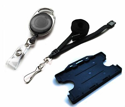 Double Sided Premier Id Card Badge Holder With Metal Lanyard Pack Free P&P