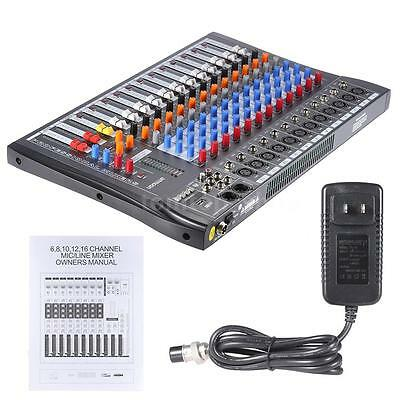 ammoon 120S-USB 12 Channel Mic Line Audio Mixer Mixing Console 100-240V L9Z5