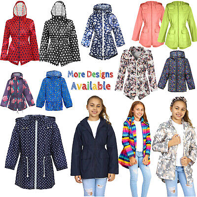 Kids Boys Girls Children Lightweight Hooded Rain Mac Fish Tail Kagoule Jackets