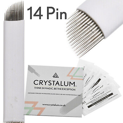Microblading Blades 14 Pin x15 Needles  Manual Eyebrow Tattoo CRYSTALUM
