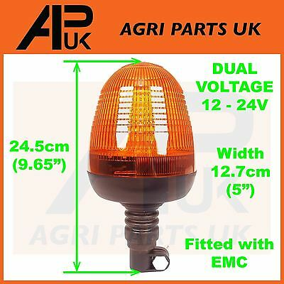 Flexible LED Flashing Amber Beacon DIN Pole Tractor Warning Light Dual Voltage