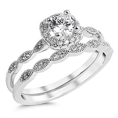 Sterling Silver .925 CZ Halo Vintage Style Engagement Ring Wedding Set Size 4-10