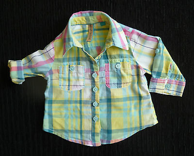 Baby clothes GIRL BOY 3-6mNEXT bright long sleeve/tabs multi-colour cotton shirt
