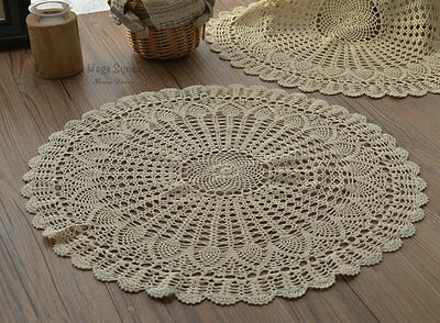 """Set 3 Hand Crochet 18"""" Round Pineapple Doilies Lot French Country Ecru"""