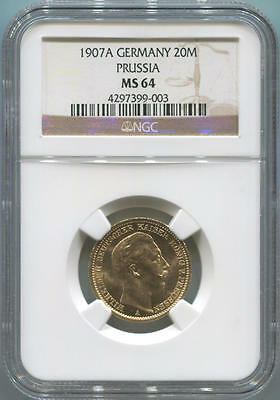 1907A German States Prussia, 20 Mark Gold. NGC MS64