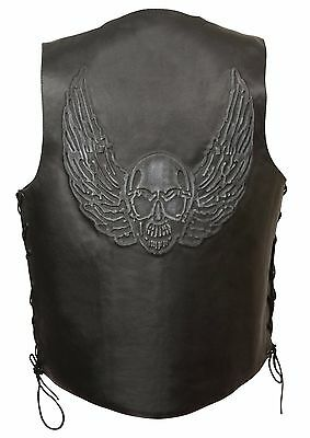 Mens Black Solid Leather Vest w Embossed Winged Skull