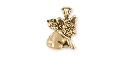 French Bulldog Angel Pendant 14k Yellow Gold Vermeil Dog Jewelry FR21A-PVM