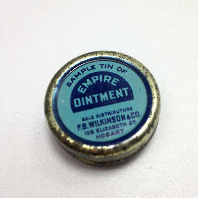 Vintage EMPIRE OINTMENT TIN  FB Wilkinson & Co Hobart