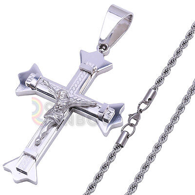 P27 18-36 men Stainless Steel Silver Crucifix Cross Pendant Rope Chain Necklace