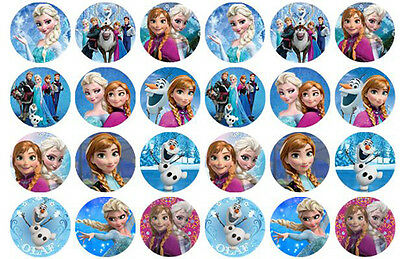 24 Disney Frozen Edible WaferPaper Cupcake Cup Cake Decoration Toppers Images