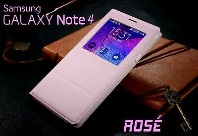 Housse Etui Flip S View Rosé Samsung Galaxy Note 4 Auto Smart Case Cover