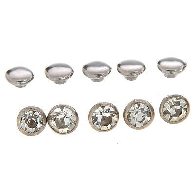 50 Crystal 6mm Round Studs Spots Punk Nailheads Spikes for Bag Shoes Bracelet PK