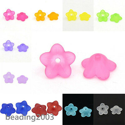 100pcs Chunky Transparent Frosted Flower Acrylic Beads Jewellery Making 13x7mm