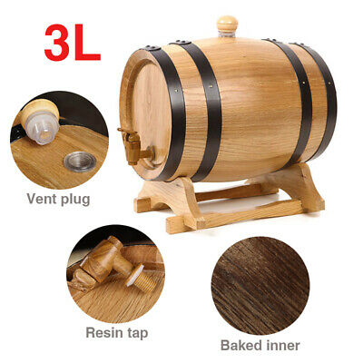 3L Home Brewing Oak Wine Wooden Timber Red Wine Whisky Rum Wine Keg AU Stock