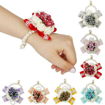 Wrist Flower Corsage Bridal Faux Pearl Bracelet for Wedding Party Prom Décor