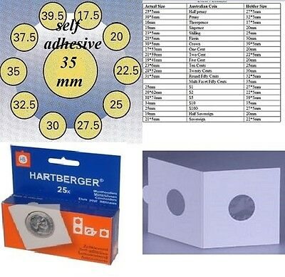 25 HARTBERGER self adhesive  2 x 2 coin holders:35 mm   made in the Netherlands