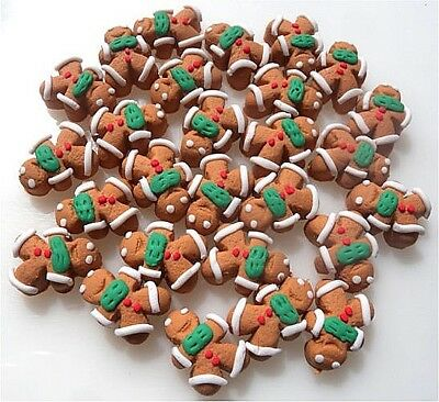 25 Gingerbread Men Flatbacks Embellishments - Clay Fimo - Same Day P&P