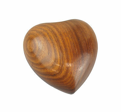 Solid Wood Hand Carved Heart Urn for Human Pet Cat Dog Ashes Cremains