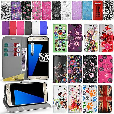 For Samsung Galaxy S7 EDGE - Wallet Leather Case Book Flip Cover + Screen Guard