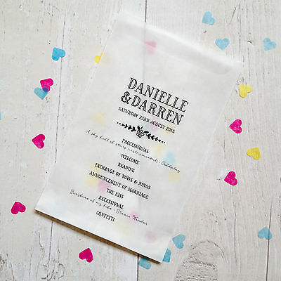 10x 'Order of Service' style personalised confetti bags for wedding, favours