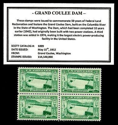 1952 - GRAND COULEE DAM -  Block of Four Vintage Mint U.S. Postage Stamps