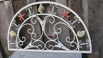 Vintage Distressed Wrought Iron Wall Plaque Home & Garden Seashell Transom Stand