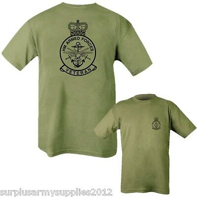 Mens T-Shirt Hm Armed Forces Veteran British Army Raf Navy 100% Cotton Top Green