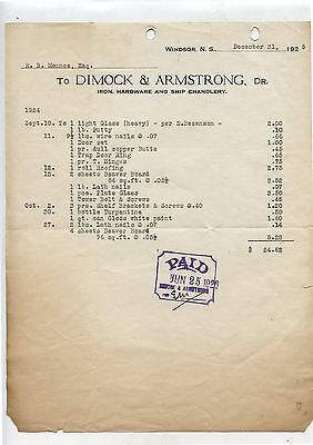 Old 1925 Dimock & Armstrong Ship Chandlery Windsor NS Letterhead