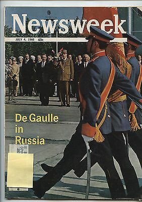 Old July 4, 1966 Newsweek Magazine DeGaulle in Russia