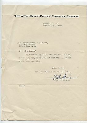 Old 1944 Avon River Power Company Windsor NS Letterhead
