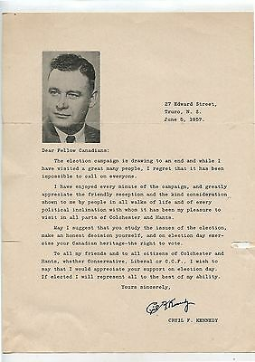 Old 1957 Canadian Political Letter Cryil F.Kennedy Truro NS