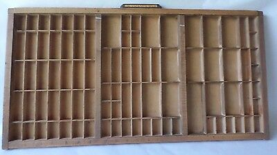 Vintage Wood Printers Tray  89 Compartments Drawer Letterpress Type Shadow Box