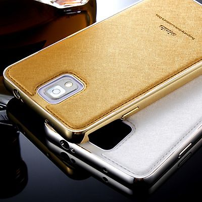 Luxury Metal Aluminum Frame Bumper + Leather Back Case Cover For Samsung Galaxy