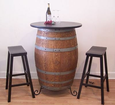 "Retired French Wine Barrel Table c/30"" TableTop-(2 )29"" Bar Stools-Stand"